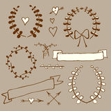 Sketch wreath, heart, arrow, bow in vintage style Royalty Free Stock Images
