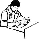 Sketch writer for the guy sitting at the table Stock Photos