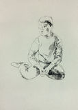 Sketch of a young boy Royalty Free Stock Photography
