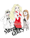 Sketch of young fashion girls Stock Images
