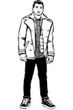 Sketch of a young handsome man with jacket Stock Photo