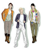 Sketch of young men royalty free illustration