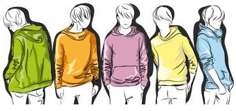 Sketch of young men in colorful jackets Stock Photo