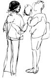 Sketch young people communicate on the street Royalty Free Stock Photos