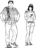 Sketch of young townspeople standing in a wait vector illustration
