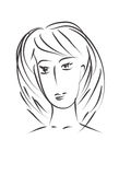 Sketch young woman face Royalty Free Stock Photos