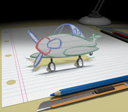 Sketch your dream (airplane). In your dream you will buy an airplane or makes a trip to the other country. Sketch your ideas and plans Stock Photo
