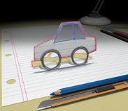 Sketch your dream (car). In your dream you will buy a car. Sketch your ideas and plans Stock Photos