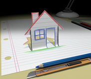 Sketch your dream (house) Royalty Free Stock Image