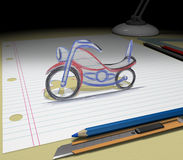 Sketch your dream (motorcycle). In your dream you will buy a motorcycle. Sketch your ideas and plans Stock Photography