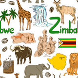 Sketch Zimbabwe seamless pattern Stock Images