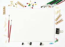 Sketchbook, brushes, paper, office supplies creative art Stock Image