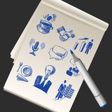 Sketchbook With Business Doodles Stock Images