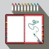 Sketchbook with Colorful Crayons. Vector vector illustration