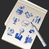Sketchbook con gli scarabocchi di affari Immagini Stock