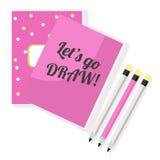 Sketchbook e matite rosa del blocco note Fotografie Stock
