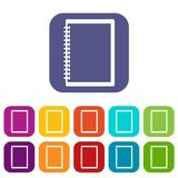 Sketchbook icons set flat Royalty Free Stock Photo