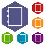 Sketchbook icons set hexagon Royalty Free Stock Photography