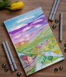 Sketchbook med den hand drog markörillustrationen av det färgrika bygdlandskapet Royaltyfria Foton