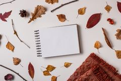 Sketchbook mockup in autumn composition stock image