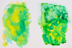 Sketchbook page, colour and texture exploring. Green and yellow Stock Photos