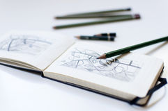 Sketchbook with pencils Royalty Free Stock Photography