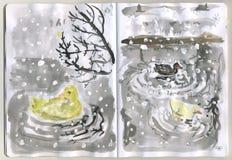 Sketchbook pintado - patos Fotografia de Stock