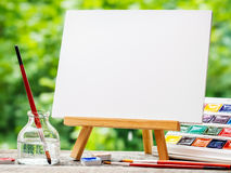 Free Sketchbook, Watercolor Paints And Paintbrushes Royalty Free Stock Image - 73632566