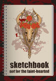 Sketchbookdekking met verfraaide dierlijke schedel Royalty-vrije Stock Afbeeldingen