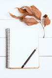 Sketchbooks con el lápiz en el fondo blanco, de madera, visión superior Imagen entonada, efecto de la película Fotografía de archivo libre de regalías