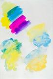 Sketchbookseite, Farbe und Beschaffenheitserforschung Stockfotos