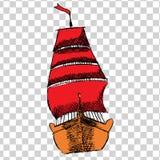 Sketche av skeppet med RÖTT seglar royaltyfri illustrationer