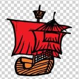 Sketche av skeppet med RÖTT seglar stock illustrationer