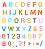 Sketched alphabet set. Capital letters and numbers Stock Images