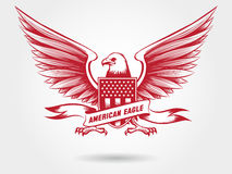 Sketched american eagle emblem design. Sketched american bald eagle with shied with stars and stripes and ribbon banner. Vector eagle emblem design Stock Photos