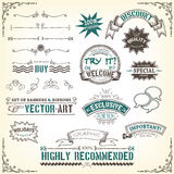 Sketched Banners, Awards And Frame. Illustration of a set of sketched doodles hand drawn design vintage banners, labels, seal stamper, ribbons and awards Royalty Free Stock Images