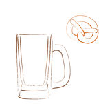 Sketched beer mug and bretzel. Stock Image