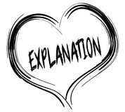 Sketched black heart with EXPLANATION text. Illustration graphic concept Royalty Free Stock Photos