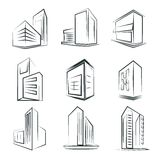 Sketched building icons Stock Image
