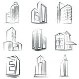 Sketched building icons Royalty Free Stock Photography