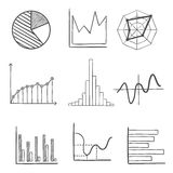 Sketched business graphs and charts Royalty Free Stock Images