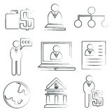 Sketched business icons. Human resource icons Royalty Free Stock Photo