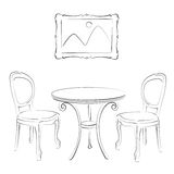 Sketched cafe interior. Royalty Free Stock Photo