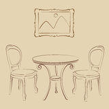 Sketched cafe interior. Stock Photo