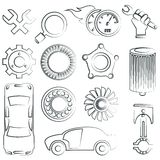 Sketched car parts set. Big set of car part icons, pencil line style Stock Photography