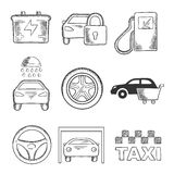 Sketched car service and transportation icons. Sketched car service icons of a fuel pump, security, battery, car wash, tyre, purchase, steering wheel, garage and royalty free illustration
