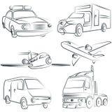 Sketched car, truck set, transportation Stock Images