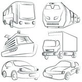 Sketched car, truck set, transportation Stock Image