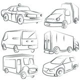 Sketched car, truck set, transportation Royalty Free Stock Photos