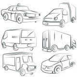 Sketched car, truck set, transportation Royalty Free Stock Photos